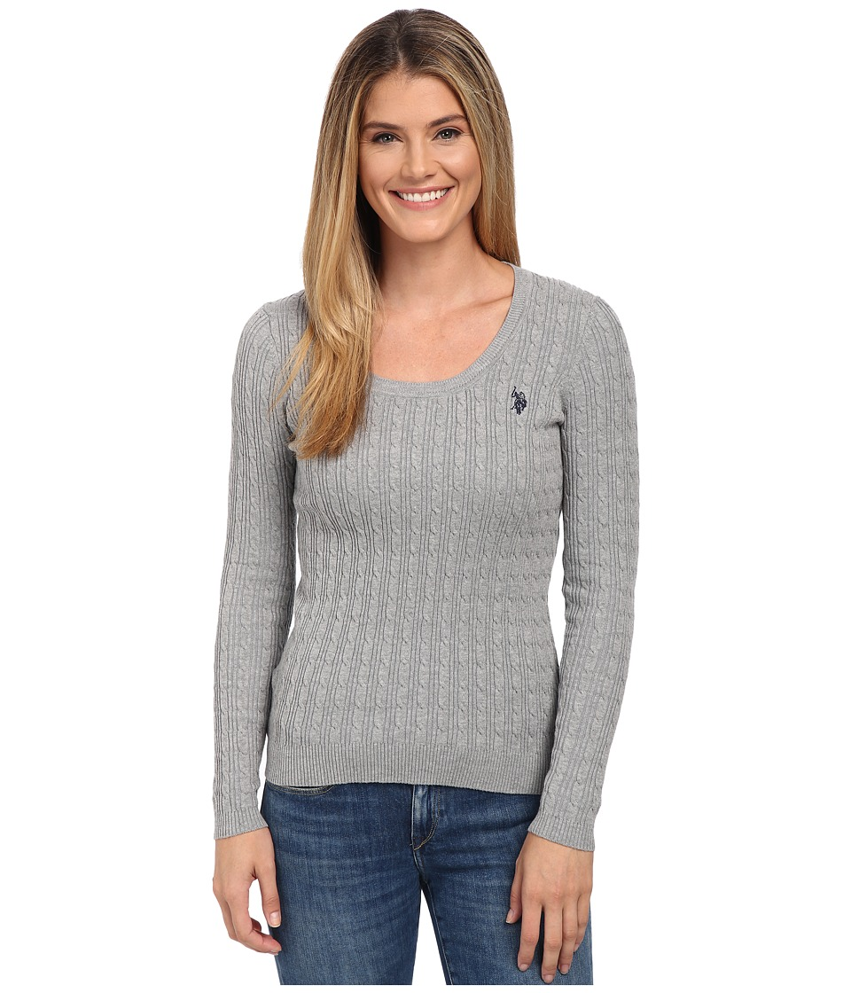 U.S. POLO ASSN. - Solid Cable Knit Scoop Neck Pullover (Medium Heather Grey Combo) Women's Clothing