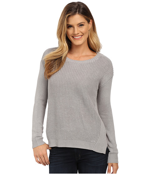 U.S. POLO ASSN. - Side Split Hi-Lo Crew Neck Sweater (Medium Heather Grey) Women