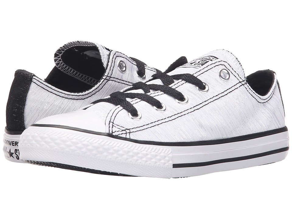 Converse Kids - Chuck Taylor All Star Ox (Little Kid/Big Kid) (White/Black/White) Girls Shoes