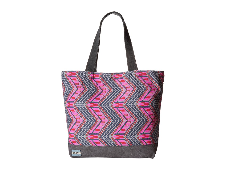 TOMS - Transport Canvas Tote (Indigo Tribal Zigzag) Tote Handbags