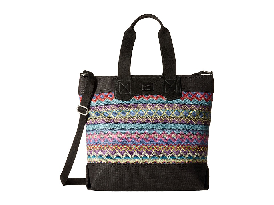 TOMS - City Sweater Felt Tote (Sky Multi) Tote Handbags