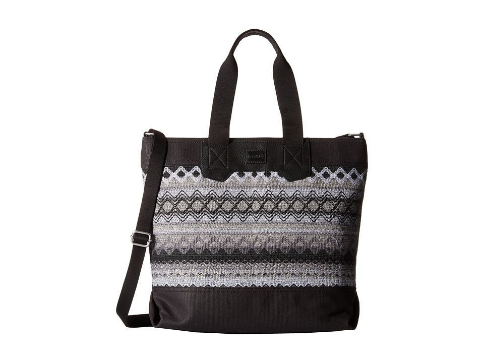 TOMS - City Sweater Felt Tote (Black Multi) Tote Handbags