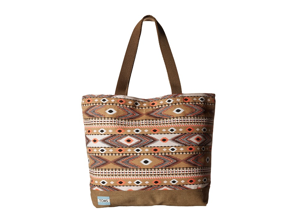 TOMS - Transport Navajo Canvas Tote (Khaki) Tote Handbags