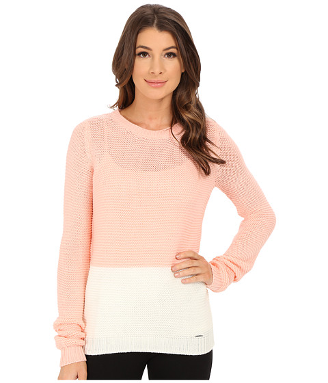 U.S. POLO ASSN. - Bulky Color Block Crew Neck Pullover (Impatiens Pink Combo) Women