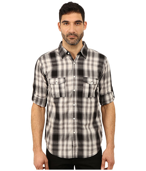 Seven7 Jeans - Plaid Shirt W Roll Cuff (Black/Charcoal/White) Men's Long Sleeve Button Up