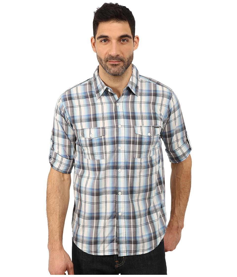 Seven7 Jeans - Plaid Shirt W Roll Cuff (Blue/White/Grey) Men's Long Sleeve Button Up