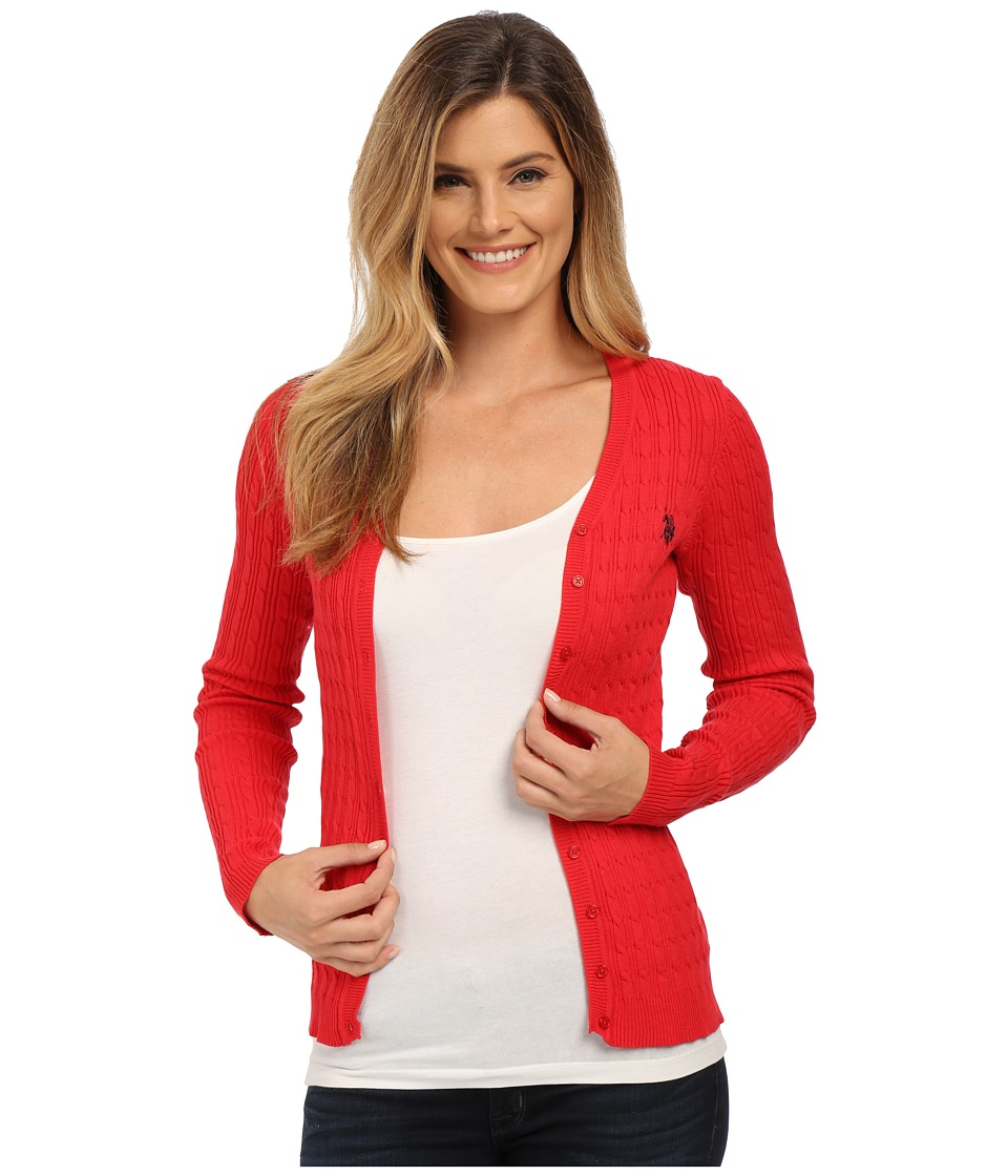 U.S. POLO ASSN. - Solid Cable Knit Cardigan (Lipstick Red Combo) Women's Sweater
