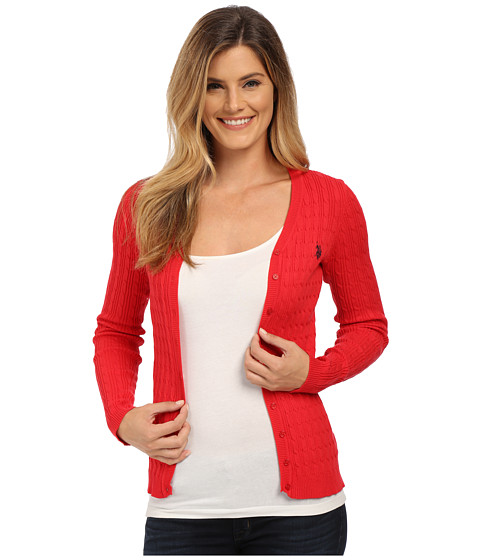 U.S. POLO ASSN. - Solid Cable Knit Cardigan (Lipstick Red Combo) Women