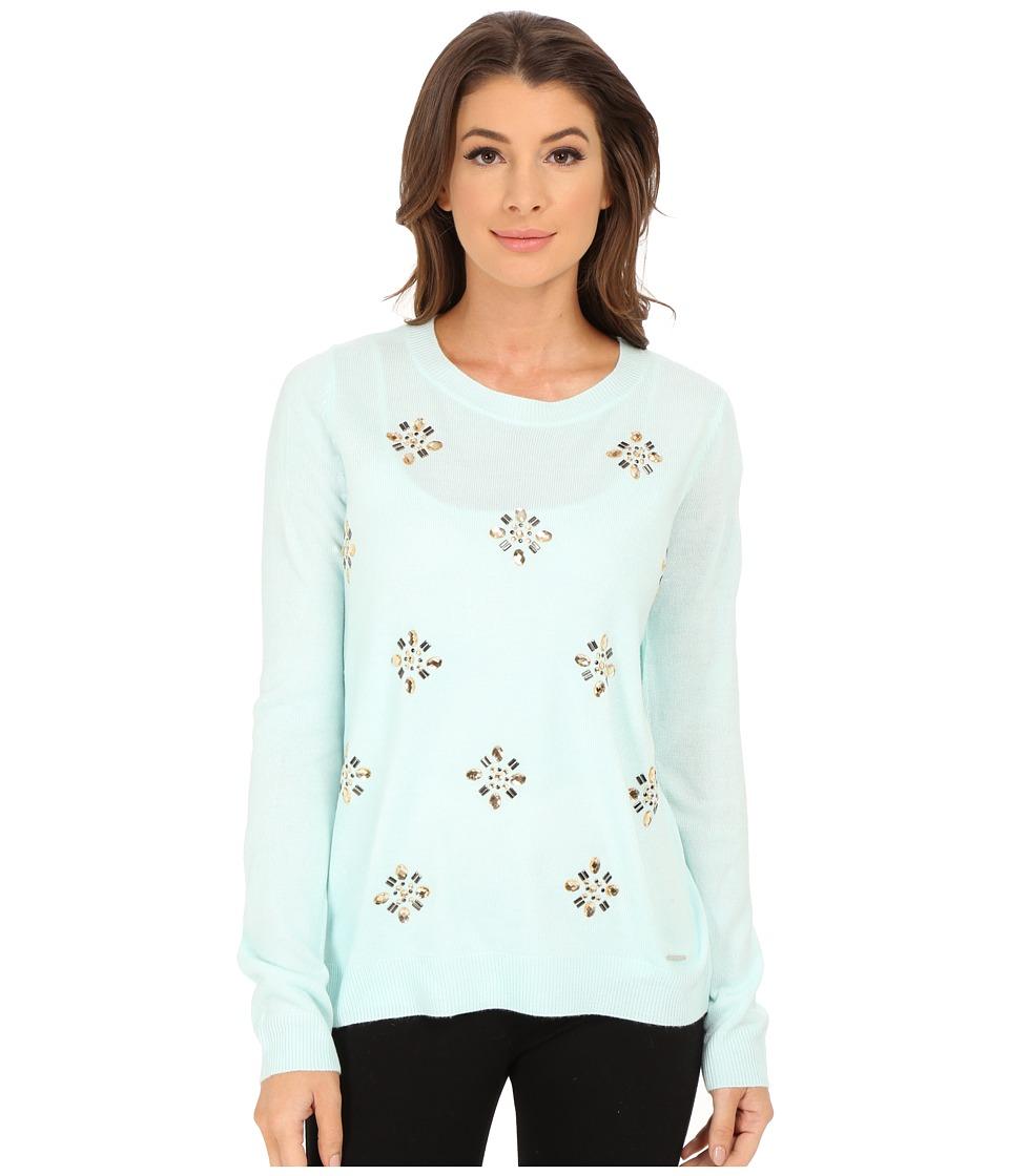 U.S. POLO ASSN. - All Over Jewel Sweater (Fair Aqua Combo) Women's Sweater