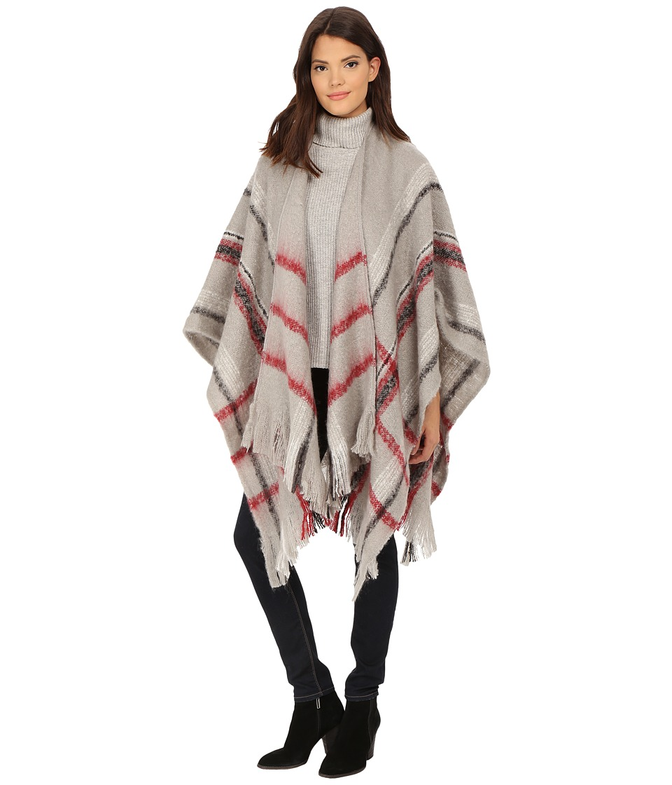 Christin Michaels - Myah Fringe Poncho (Light Grey) Women