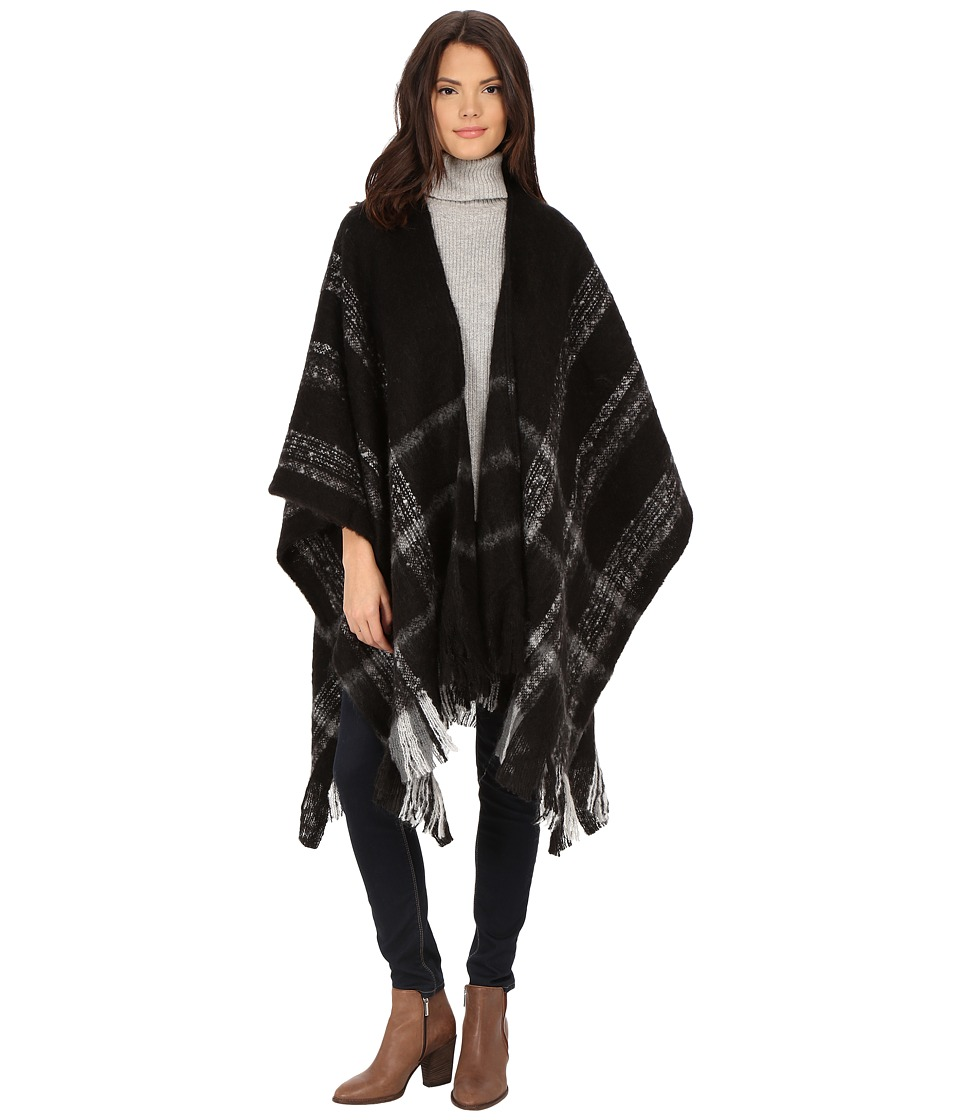 Christin Michaels - Myah Fringe Poncho (Black) Women's Sweater