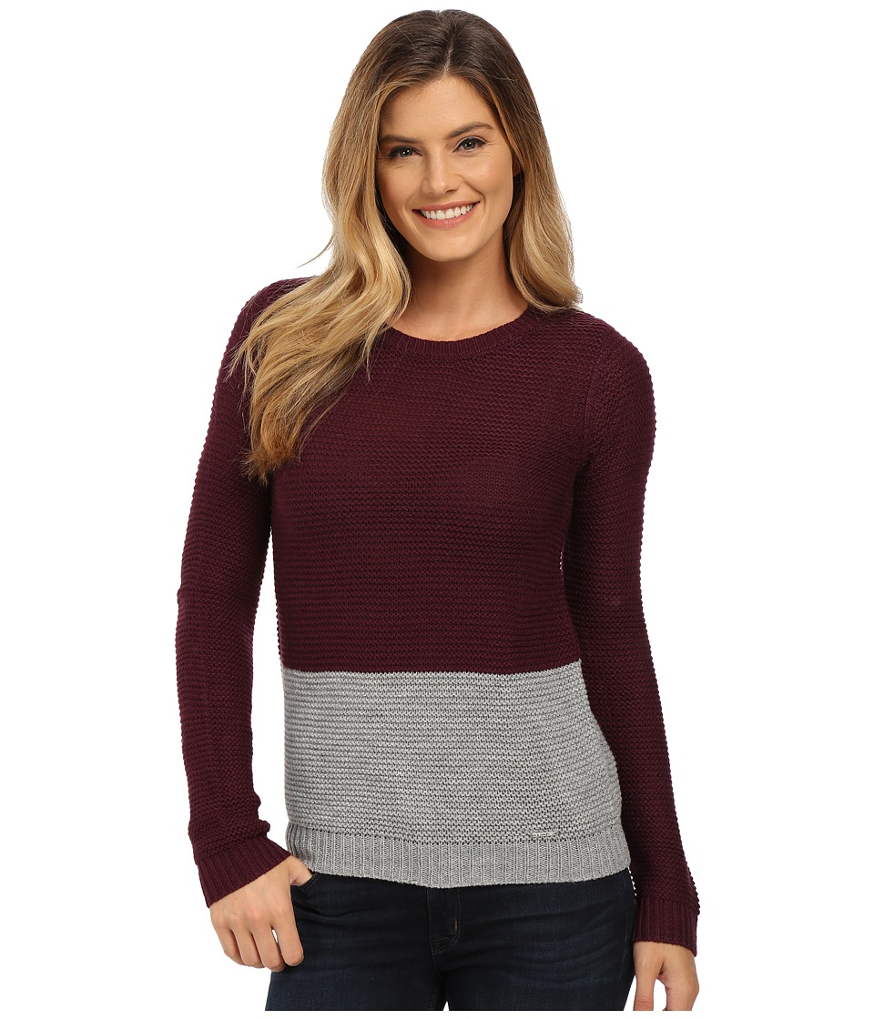 U.S. POLO ASSN. - Bulky Color Block Crew Neck Pullover (Potent Purple Combo) Women