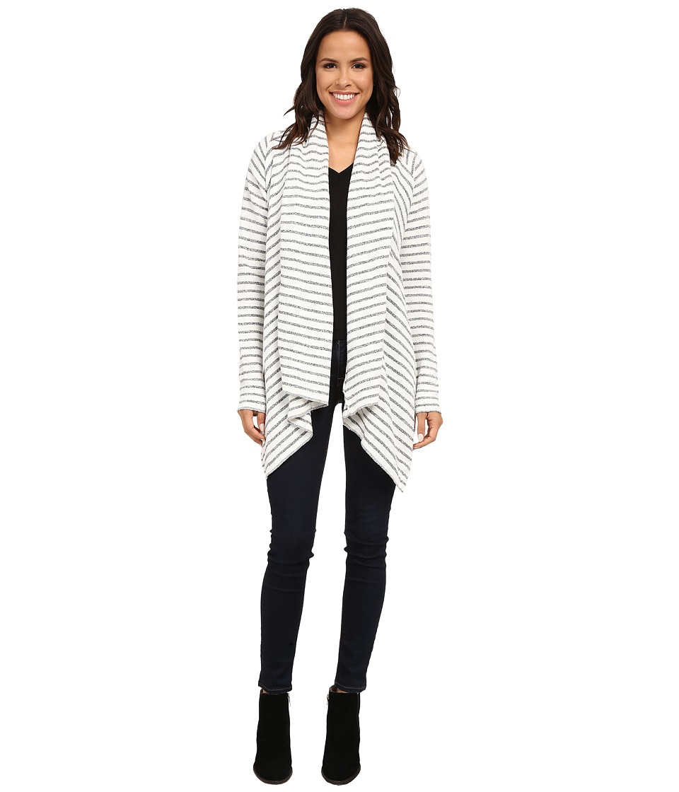 Culture Phit - Rylee Striped Cardigan (White/Heather Grey) Women's Sweater