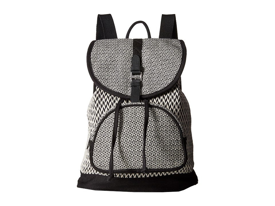 TOMS - Departure Pattern Weave Backpack (Black/White) Backpack Bags