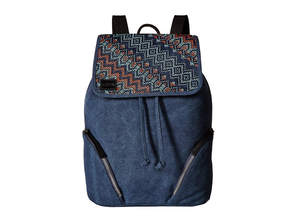 TOMS - Sojourn Patterned Raffia Backpack (Indigo) Backpack Bags