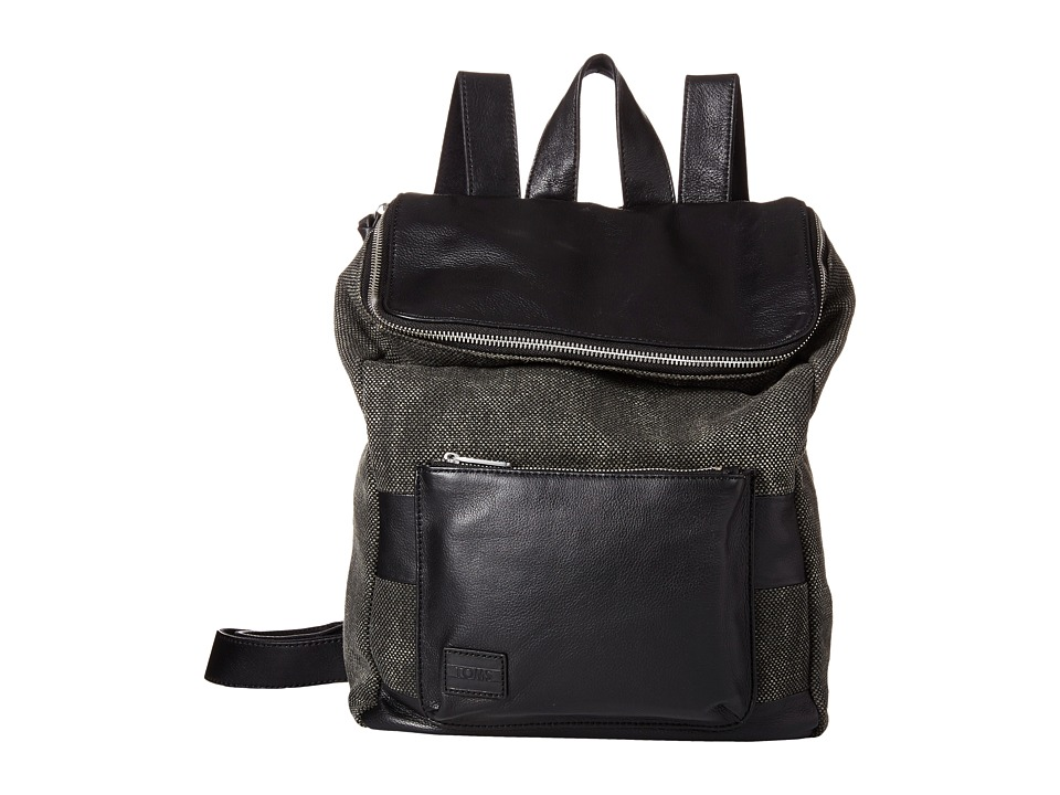 TOMS - Endeavor Multi Texture Mix Leather Backpack (Black) Backpack Bags