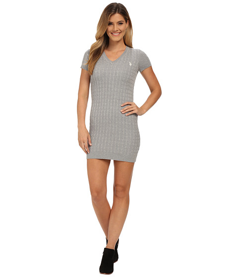 U.S. POLO ASSN. - Cable Knit V-Neck Dress (Medium Heather Grey Combo) Women's Dress