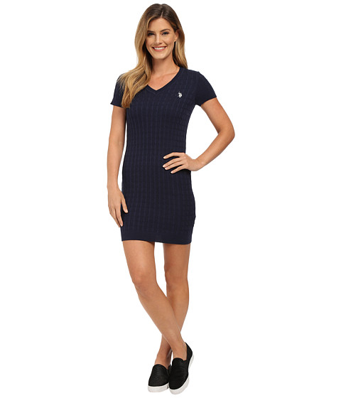 U.S. POLO ASSN. - Cable Knit V-Neck Dress (Evening Blue Combo) Women