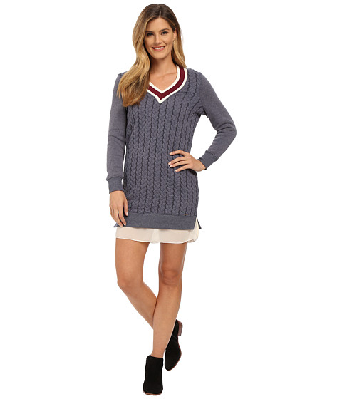 U.S. POLO ASSN. - Cable Knit V-Neck Varsity Dress with Fleece Sleeves (Evening Blue Combo) Women