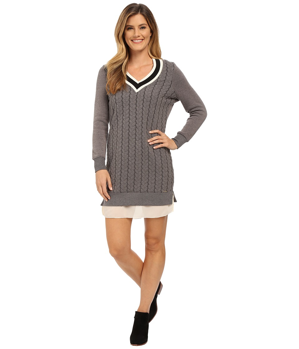 U.S. POLO ASSN. - Cable Knit V-Neck Varsity Dress with Fleece Sleeves (Dark Heather Grey Combo) Women's Dress