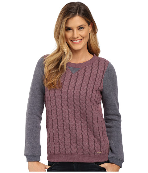 U.S. POLO ASSN. - Color Block Cable Crew Neck Pullover (Potent Purple Combo) Women