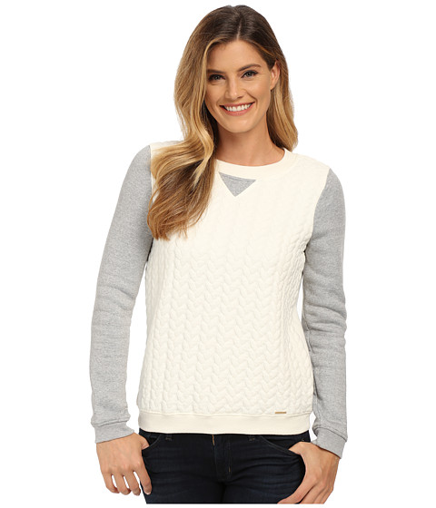 U.S. POLO ASSN. - Color Block Cable Crew Neck Pullover (Marshmallow Combo) Women's Sweater
