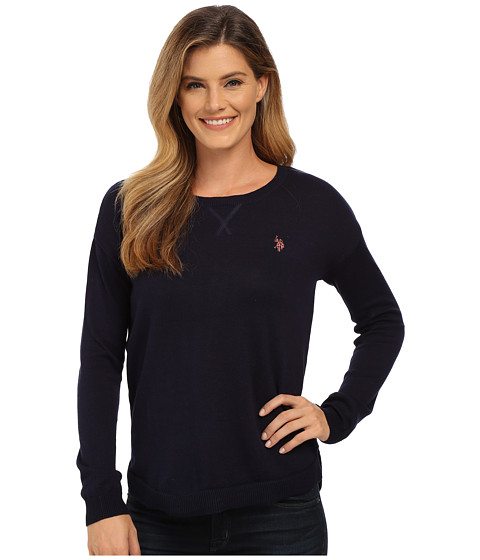 U.S. POLO ASSN. - Hi-Lo Solid Crew Neck Pullover (Evening Blue Combo) Women