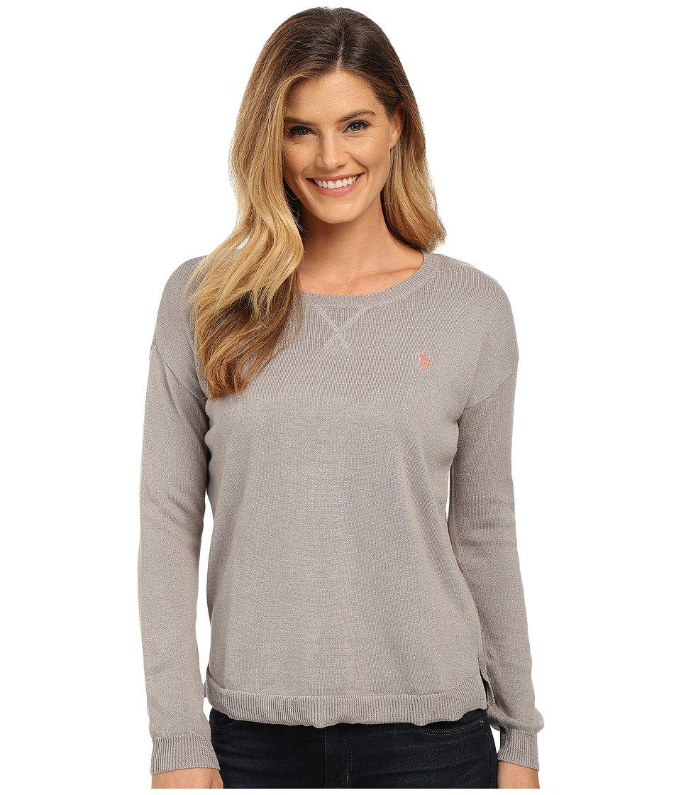 U.S. POLO ASSN. - Hi-Lo Solid Crew Neck Pullover (Medium Heather Grey Combo) Women's Sweater