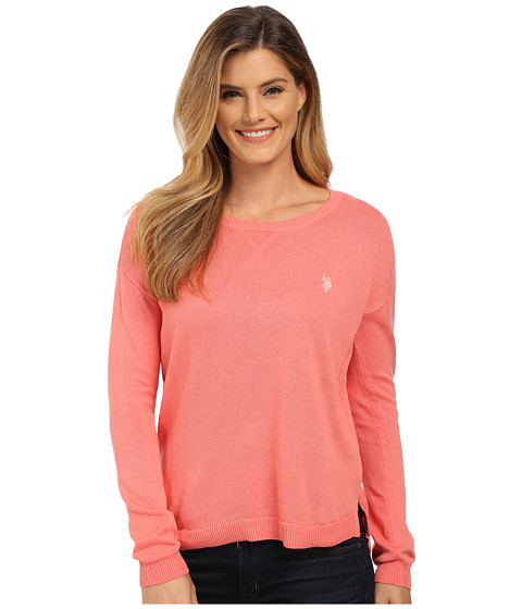 U.S. POLO ASSN. - Hi-Lo Solid Crew Neck Pullover (Shell Pink Combo) Women's Sweater