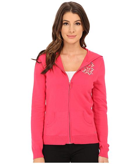 U.S. POLO ASSN. - Hooded Sweater Jacket with Mixed Stone Jewel Detail (Azalea Combo) Women