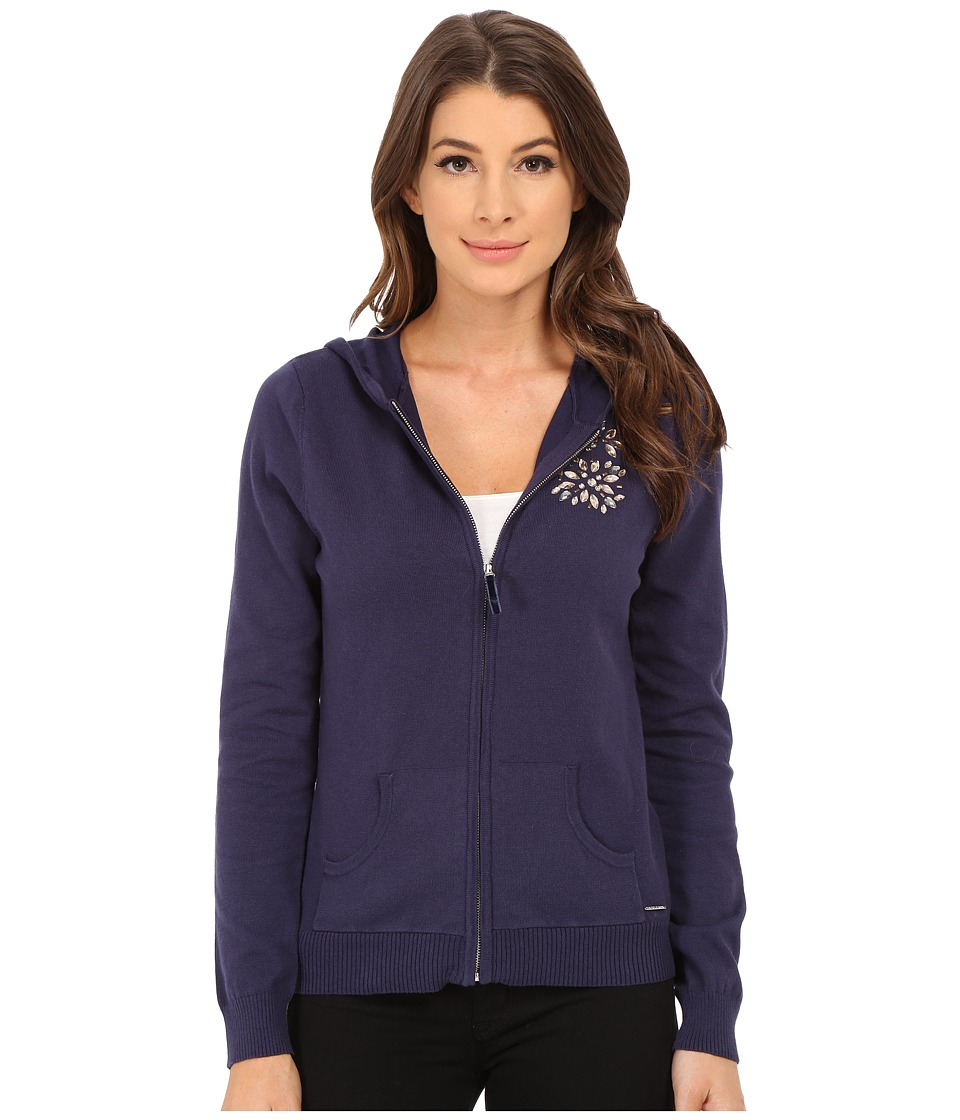 U.S. POLO ASSN. - Hooded Sweater Jacket with Mixed Stone Jewel Detail (Eclipse Combo) Women's Sweater