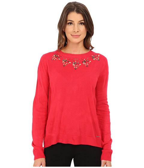 U.S. POLO ASSN. - Jewel Necklace Sweater (Azalea Combo) Women