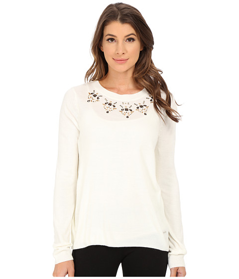 U.S. POLO ASSN. - Jewel Necklace Sweater (Egret Combo) Women's Sweater