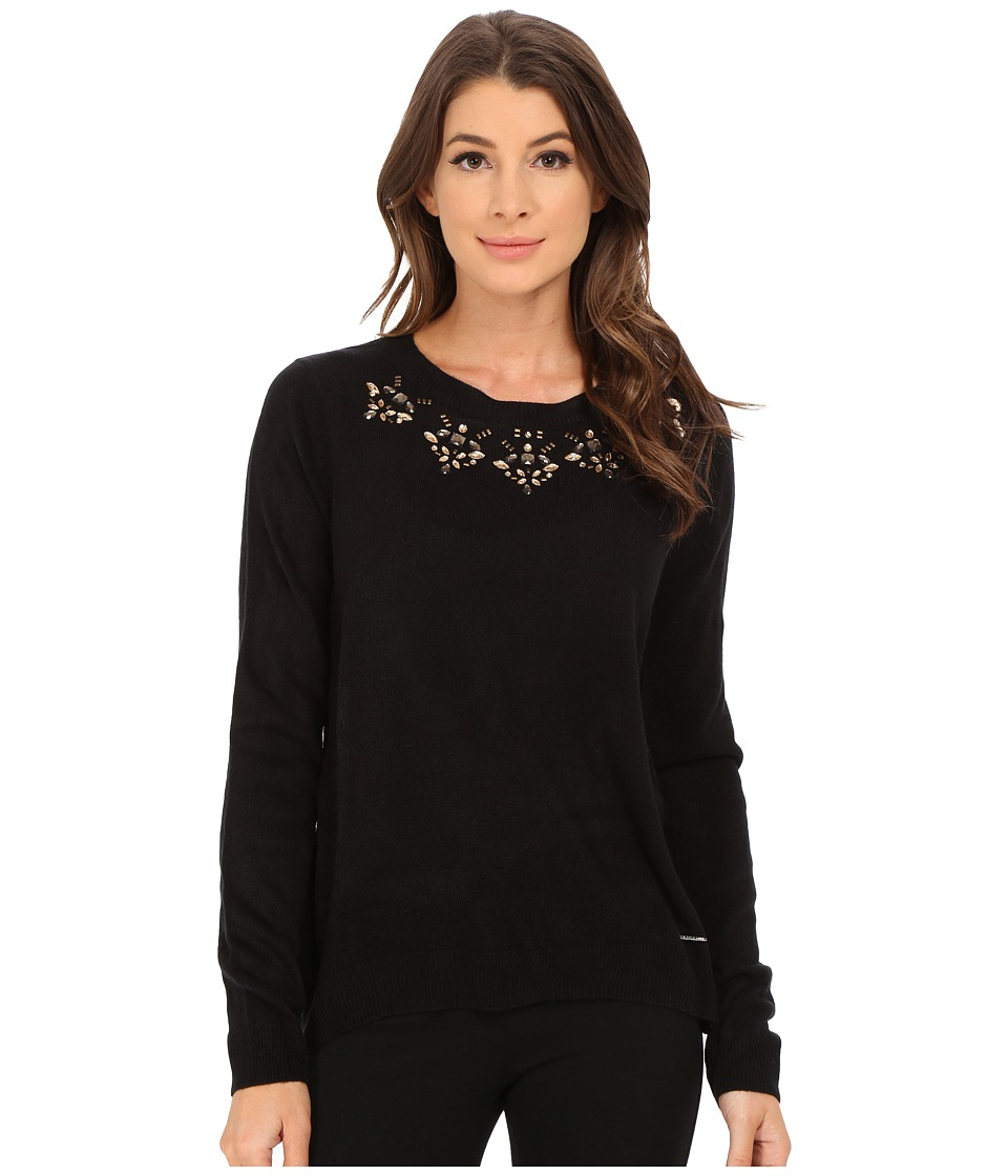 U.S. POLO ASSN. - Jewel Necklace Sweater (Anthracite Combo) Women's Sweater