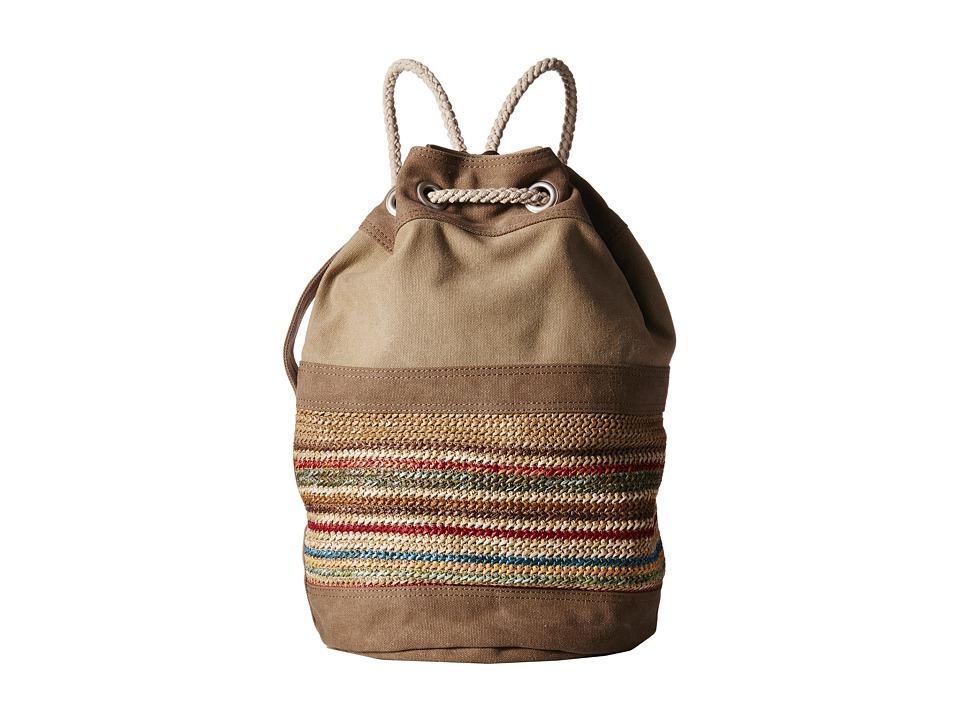 TOMS - Rebel Multi Raffia Drawstring (Olive) Drawstring Handbags