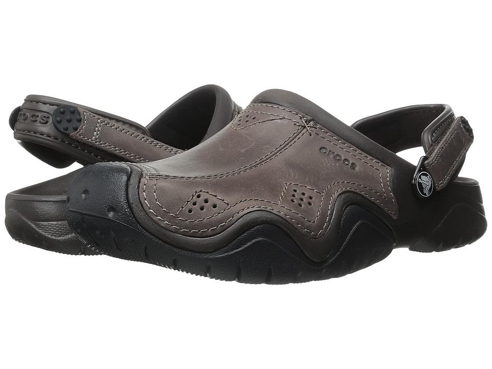 Crocs Swiftwater Leather Camp Clog (Epsresso/Black) Men