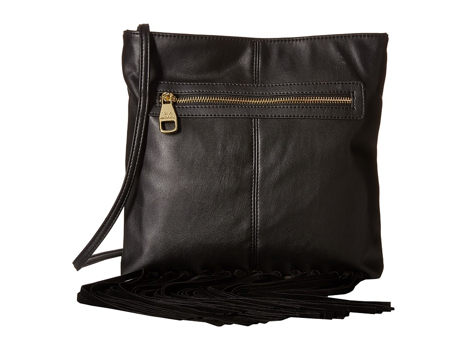 Steve Madden - Blottie Fringe Knot Front Zip Crossbody (Black) Cross Body Handbags
