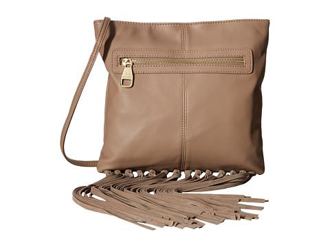 Steve Madden - Blottie Fringe Knot Front Zip Crossbody (Taupe) Cross Body Handbags