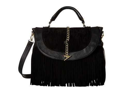 Steve Madden - Broxy - Laelia Fringe Chain Detail Messenger (Black) Cross Body Handbags