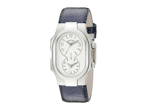 Philip Stein - Small Signature White Dial on Navy Metallic Karung (White/Navy) Watches