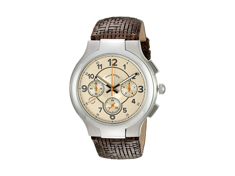 Philip Stein - Chronograph Round Tan Dial on Chocolate Woven Calf (Tan/Chocolate) Chronograph Watches