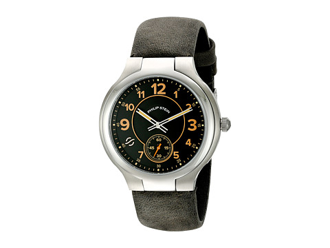 Philip Stein - Large Round Black Dial on Grey Assolutamente (Black/Grey) Watches