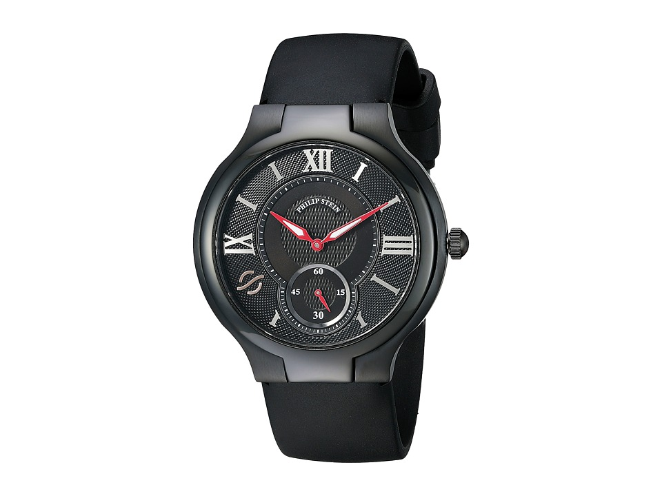 Philip Stein - Large Round Black PVD on Black Rubber (Black) Watches