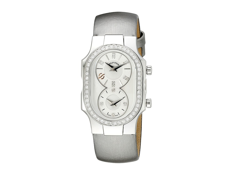 Philip Stein - Small Swiss Signature Diamond on Platinum Silk Calf (Platinum Silver) Watches