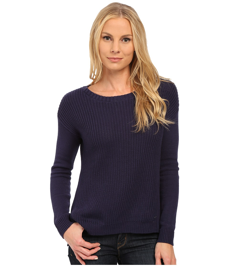 U.S. POLO ASSN. - Side Split Hi-Lo Crew Neck Sweater (Evening Blue) Women