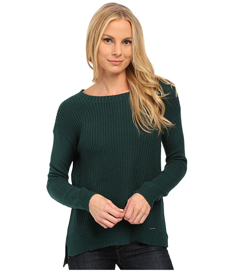 U.S. POLO ASSN. - Side Split Hi-Lo Crew Neck Sweater (Botanical Garden) Women's Sweater