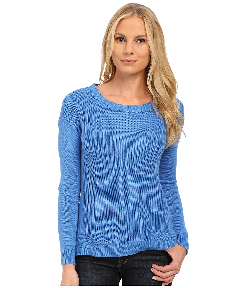 U.S. POLO ASSN. - Side Split Hi-Lo Crew Neck Sweater (Campanula) Women's Sweater