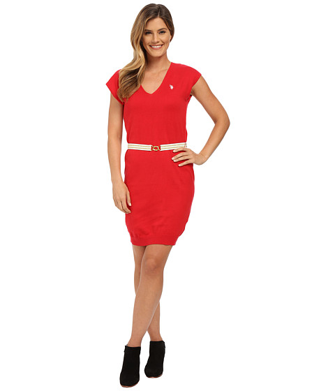 U.S. POLO ASSN. - Sleeveless V-Neck Sweater Dress (Lipstick Red Combo) Women