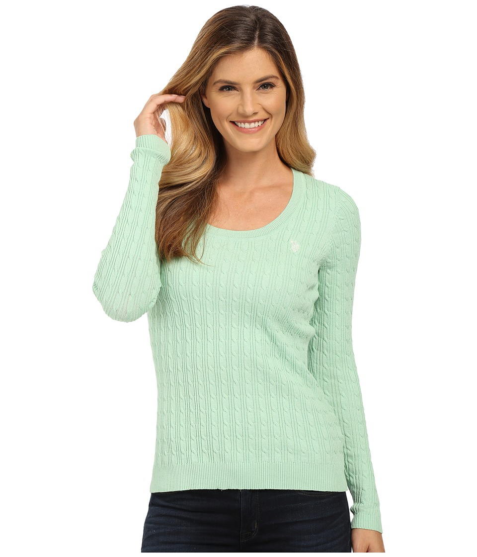 U.S. POLO ASSN. - Solid Cable Knit Scoop Neck Pullover (Birds Egg Green Combo) Women's Clothing