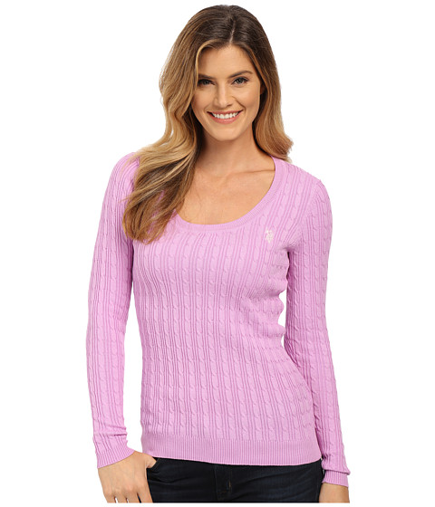 U.S. POLO ASSN. - Solid Cable Knit Scoop Neck Pullover (Violet Tulle Combo) Women's Clothing